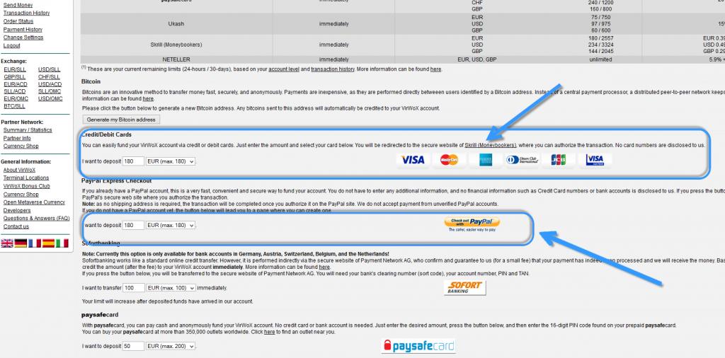 virwox payment methods